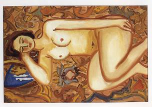 Miha Maleš, Ležeči ženski akt, 1938, olje na platno