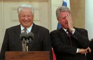 Boris Jelcin in Bill Clinton oktobra 1995 na tiskovki