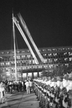 Proslava ob razglasitvi samostojne Slovenije, 26. junija 1991, na Trgu republike