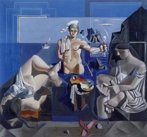 Salvador Dalí: Kompozicija s tremi figurami. Neokubistična akademija, 1926