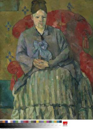 Gospa Cézanne v črtastem krilu, ok. 1877, olje na platnu, 72,4 x 55,9 cm