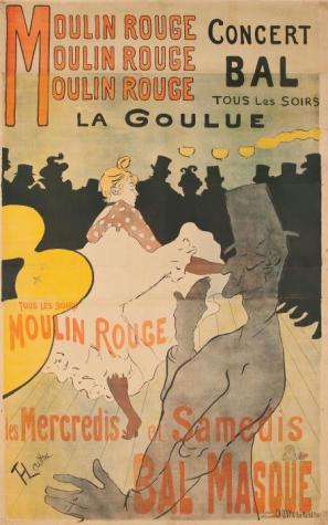 Toulouse-Lautrec: Moulin Rouge, koncert, ples vsak večer, 1891, litografija