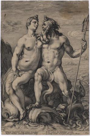 Neptun in Amfitrita, Hendrick Goltzius, okoli 1594, bakrorez